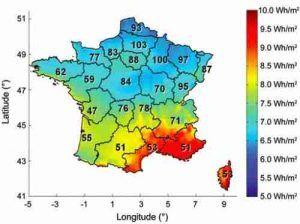 relation entre exposition aux UVB, latitude et prévalence de la SEP en France.